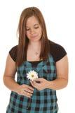 Blick för vit blomma för kvinnahåll ner Royaltyfri Fotografi