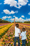 Blick mit zwei Jungen auf das Feld von Butterblumeen Stockbild