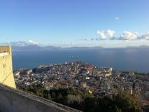 Blick von Neapel von Castel Sant-` Elmo Stockfotos
