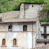 Blick von Visso, schönes Dorf in der Provinz von Macerata Lizenzfreies Stockfoto