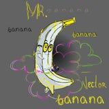 Blickar för herr Banana som måne 2 stock illustrationer