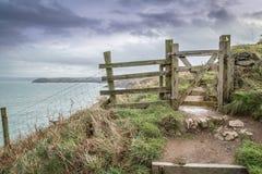 Blicken in Richtung Hafen quin von den Hinterteilen in Cornwall Großbritannien Stockfoto