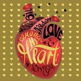 Blidka komisk stil, dra den mänskliga hjärtan på guld- bakgrundsmodell av tecknad filmhjärtor Gotisk text min hjärta för dig Royaltyfria Foton