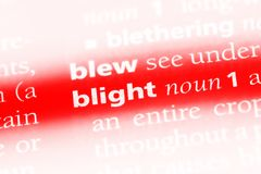 Blight. Word in a dictionary.  concept Stock Photos