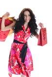 Blij mooi meisje met het winkelen. Stock Afbeeldingen