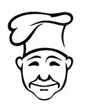Blije chef-kok in een hoge hoed Stock Afbeeldingen