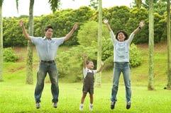 Blije familie die samen springt Royalty-vrije Stock Afbeeldingen
