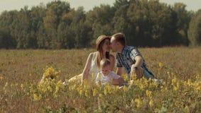 Blije familie die van hun picknick in aard genieten stock footage