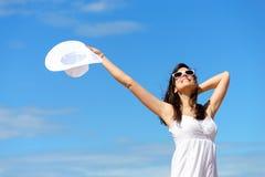Blije gelukkige vrouw en vrijheid Royalty-vrije Stock Fotografie