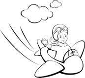 Blije jongen die een stuk speelgoed vliegtuig vliegen royalty-vrije illustratie