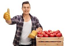 Blije landbouwer die die op een krat leunen met appelen wordt gevuld en a geven stock foto's