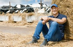 Blije landbouwer op een landbouwbedrijf onder koeien die op grond zitten royalty-vrije stock afbeelding