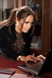 Blije onderneemster met laptop Stock Afbeelding