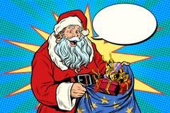 Blije Santa Claus met zak van Kerstmisgiften royalty-vrije illustratie
