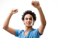 Blije sterke mens die omdat hij won jubelen Stock Foto's