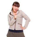 Blije tiener in grijs jasje Stock Foto