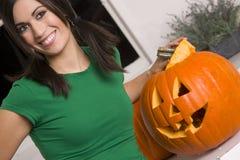 Blije Vrouw in Halloween Royalty-vrije Stock Afbeeldingen