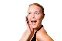 Blije vrouw op telefoon Stock Foto