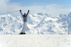 Blije vrouwelijke skiër Royalty-vrije Stock Afbeelding