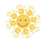 Blije zon van handprints Stock Afbeeldingen