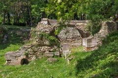 Blijft van builings in de oude Roman stad van Diokletianopolis, stad van Hisarya, Bulgarije Royalty-vrije Stock Foto