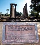 Blijft van de 7de eeuw Boeddhistische die Tempel met details op steen wordt gesneden Stock Fotografie