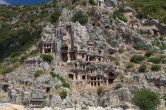 blijft van een Roman tempel in Demre Myra, Turkije Royalty-vrije Stock Foto