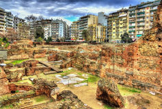 Blijft van Galerius-Paleis in Thessaloniki stock foto's