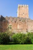 Blijft van het kasteel in de Tuin van Ninfa stock foto