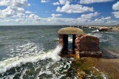 Blijft van het Westelijke fort Baltisch Spit, Kaliningrad-gebied, Ru Stock Foto's