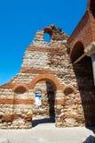 Blijft van oude kerk. Bulgarije. Nessebar Stock Foto's