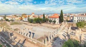 Blijft van Roman Agora in Athene, Griekenland royalty-vrije stock afbeeldingen