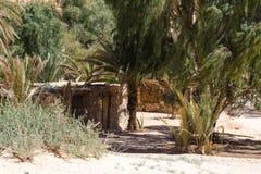 Blijven stilstaan bedouin in een oase in de woestijn onder de bergen in van Zuid- Egypte Dahab Sinai stock fotografie