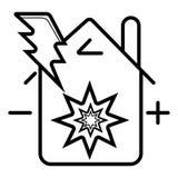 Bliksem onder de vector van het huispictogram stock illustratie