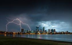 Bliksem over Perth Stock Fotografie