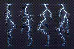 Bliksem Van de de elektriciteits blauw hemel van het donderonweer van de de flits stormachtig realistisch onweersbui de stortbuik vector illustratie