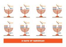 Bliksemkaarsen voor Joodse vakantie, hanukkah Illustratie stock illustratie