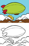 Blimp. Cartoon image of a blimp flying overhead - both color and black / white versions Stock Images