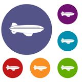 Blimp aircraft flying icons set Stock Images