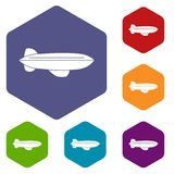 Blimp aircraft flying icons set hexagon Royalty Free Stock Images