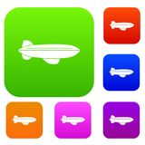 Blimp aircraft flying set color collection Royalty Free Stock Photography