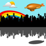 Blimp leaving the city. Abstract colorful illustration with a blimp rising up in the skies leaving the city for another destination Stock Photo