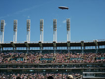 Blimp over stadium. Blimp over baseball stadium royalty free stock image