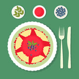 Blin z dżemu naczyniem dekorującym z jagodami i liśćmi Obrazy Royalty Free