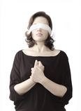 Blind. Lady in black with the fastened eyes, dull Royalty Free Stock Photo