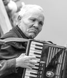 A blind accordionist plays Royalty Free Stock Image