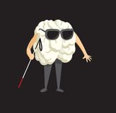 Blind brain holding a cane Royalty Free Stock Image