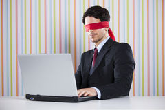 Blind businessman working Royalty Free Stock Photos