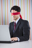 Blind businessman working Royalty Free Stock Images