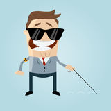 Blind cartoon man Royalty Free Stock Photography